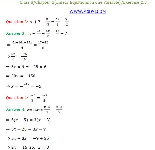 NCERT Maths Class 8 maths Chapter 2 Solutions and PDF » MSIPG