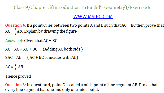 Class 9 Maths Chapter 5 Introduction to Euclid's Geometry