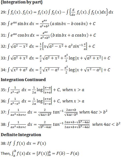 Calculus formulas | Differential and Integral Calculus formula